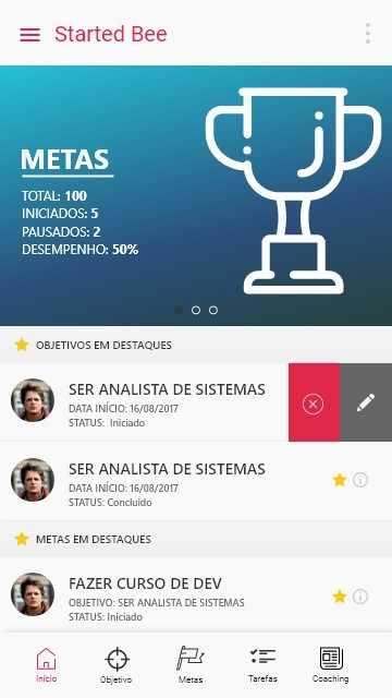 Figura 18: Tela Home com menu tabs e slide de com desempenho de meta. Fonte: elaborada pelo autor