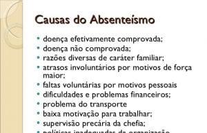 Causas do Absenteísmo doença efetivamente comprovada; doença não comprovada; r...
